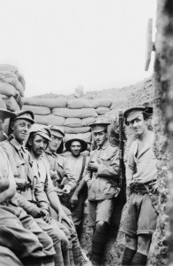 A group of Australian and New Zealand soldiers in a front line trench on the Gallipoli Peninsula, 1915.