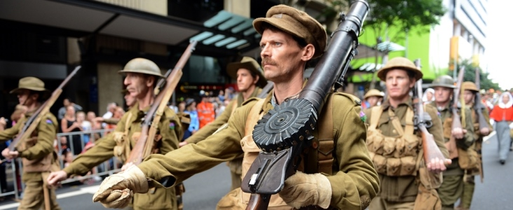 Taking part in the ANZAC Day parade in Brisbane, Wednesday, April 25, 2012. Australians and New Zealanders today honour their soldiers who died who in Gallipoli in WWI and in other conflicts around the world