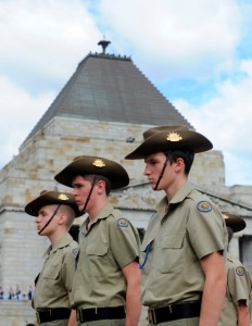 Australian army cadets during the ANZAC Day Parade Melbourne 2013
