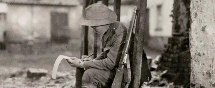 A member of the 2nd Battalion carrying on with his correspondence.