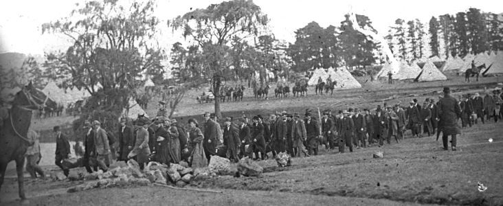 Recruits arriving at Broadmeadows Military Camp in 1914