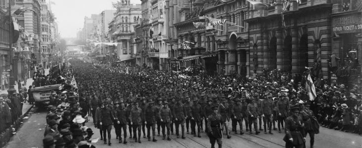 Soldiers march in Collins street after the war