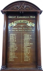 The Coimadai Primary School Honor Roll shows past pupils who fought in the First World War.