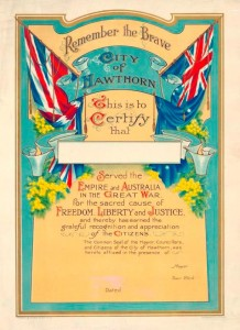 A title Certificate of Service in the Great War