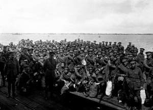 Men waiting to board Shropshire 1916 at Port Melbourne. Pictures Collection, State Library of Victoria.
