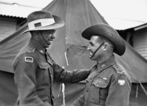 Lieutenant (Lt) T.C. Derrick, VC DCM (right) with Lt R. W. Saunders (left). Lt Saunders was the first Aboriginal commissioned in the Australian Army.