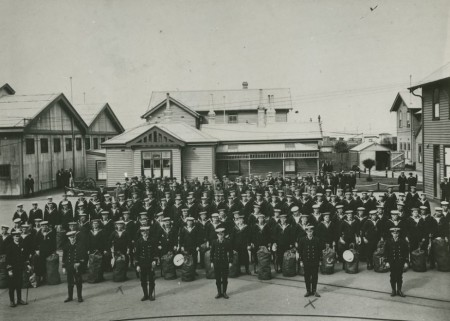 Officers and ratings of the Victorian naval contingent of the 1st Australian Naval & Military Expeditionary Force circa August, 1914.