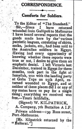 Article written to Port Melbourne Newspaper  28 August 1915